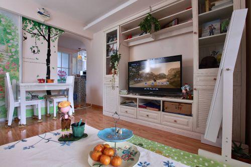 二居室田园风格客厅电视柜效果图