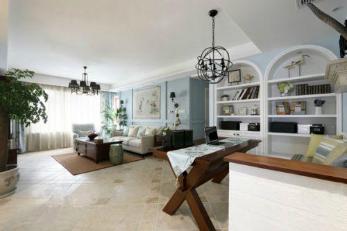 田园风格三居室客厅书柜装修效果图欣赏