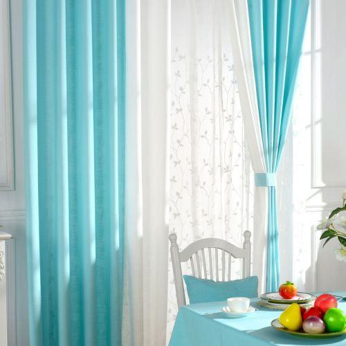蓝色小清新田园客厅窗帘效果图
