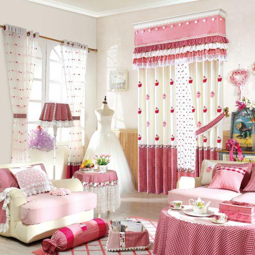 粉色田园可爱少女客厅窗帘效果图