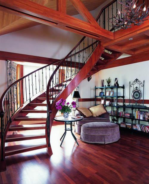 乡村田园风红色客厅旋转楼梯效果图