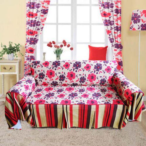 红色田园风格花朵客厅窗帘效果图