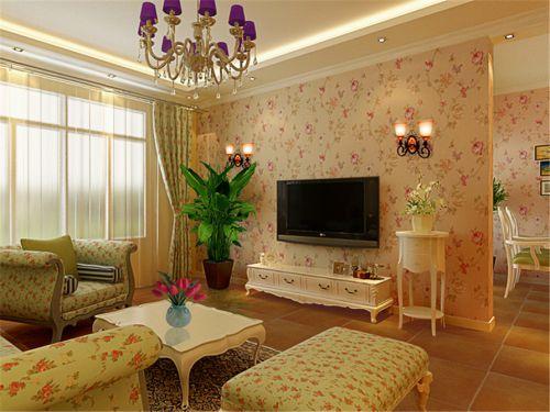 温馨田园风格二居室客厅碎花壁纸装修效果图