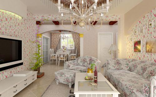 田园风格三居室客厅装修效果图欣赏