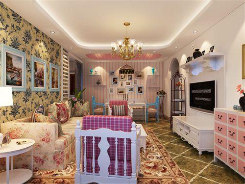 浪漫田园风格甜美客厅壁纸装修图片