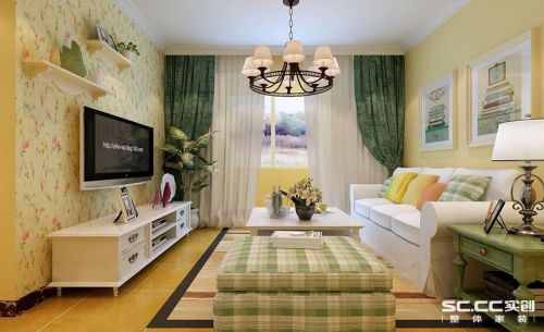 田园风格二居室客厅吊顶装修图片