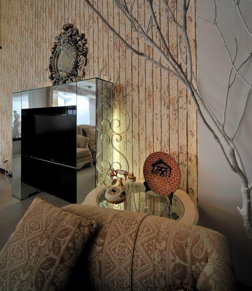 田园风格三居室客厅影视墙装修图片