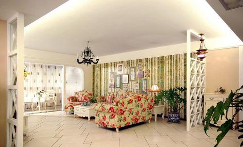 田园风格客厅白色隔断效果图
