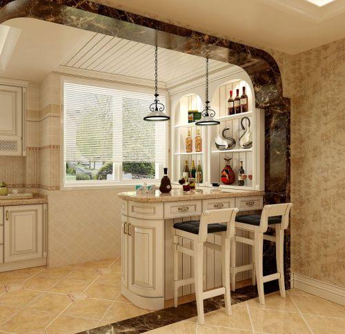 92平三居室田园风格客厅白色吧台装修效果图