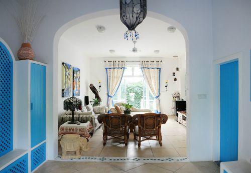 蓝色田园风格客厅装修效果图