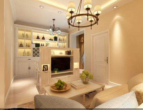 田园风格一居室客厅影视墙装修效果图欣赏