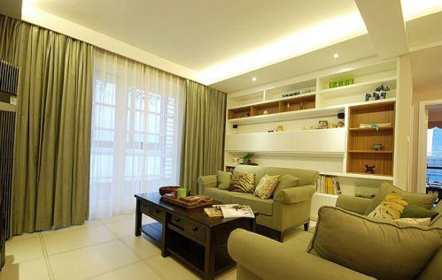 田园风格二居室客厅组合柜装修效果图欣赏