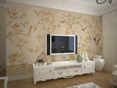 浪漫田园风格客厅电视背景墙绘装修效果图