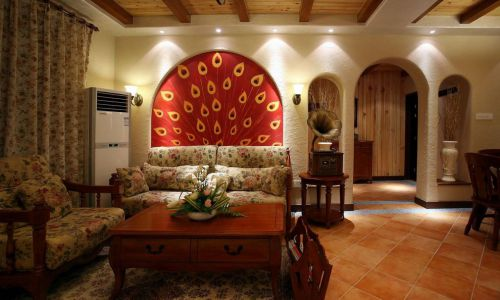 美式田园风格客厅沙发装修实景图