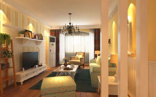 田园风格三居室客厅壁纸装修效果图欣赏