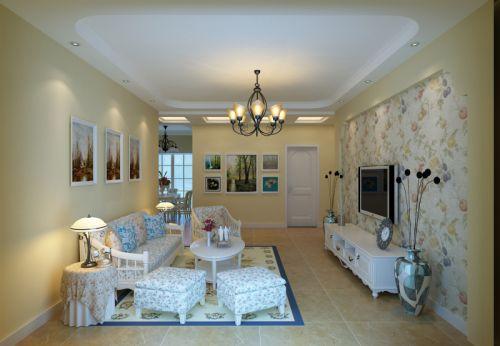 田园风格二居室客厅壁纸装修图片