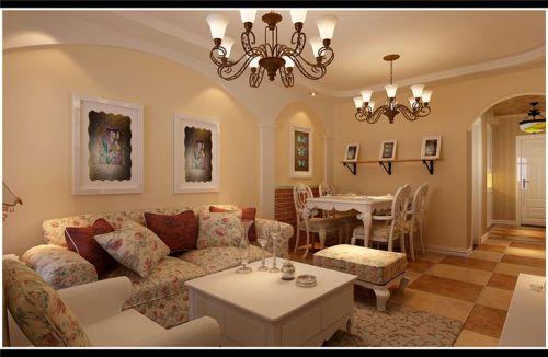 田园风格二居室客厅吊顶装修效果图欣赏