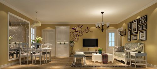田园风格二居室客厅照片墙装修效果图欣赏