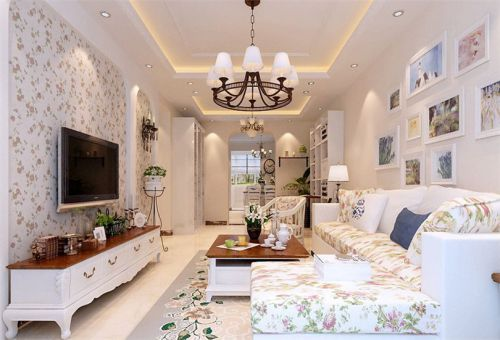 田园风格三居室客厅影视墙装修效果图大全