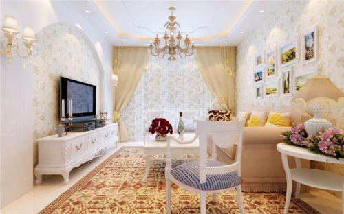 田园风格一居室客厅吊顶装修效果图大全