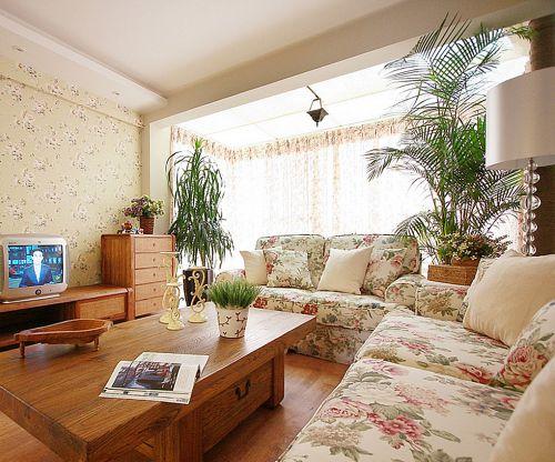 田园风格二居室客厅茶几装修效果图欣赏