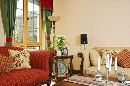 田园风格四居室客厅窗帘装修效果图