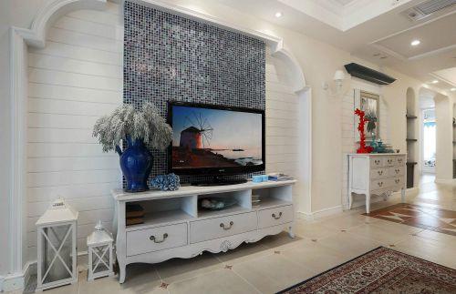 田园风格三居室客厅电视柜装修图片