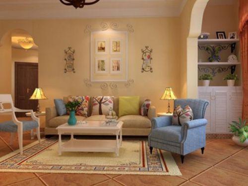田园风格三居室客厅沙发装修效果图欣赏