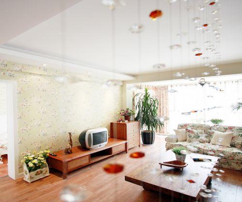 田园风格一居室客厅窗帘装修效果图