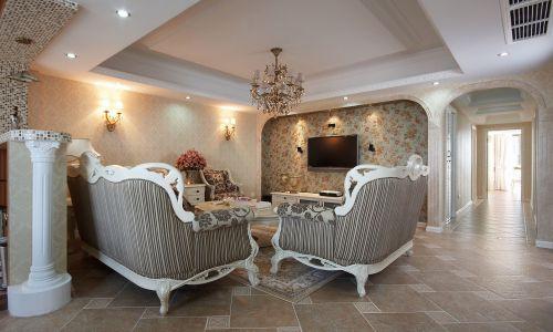 田园风格四居室客厅影视墙装修效果图欣赏