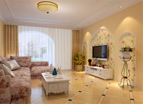 田园风格三居室客厅隔断装修效果图欣赏