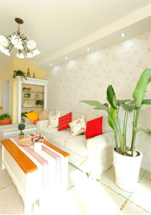 田园风格一居室客厅吊顶装修效果图