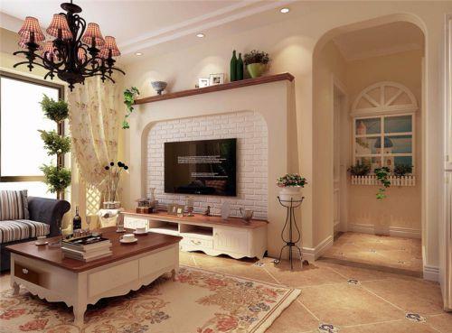 田园风格二居室客厅影视墙装修效果图欣赏