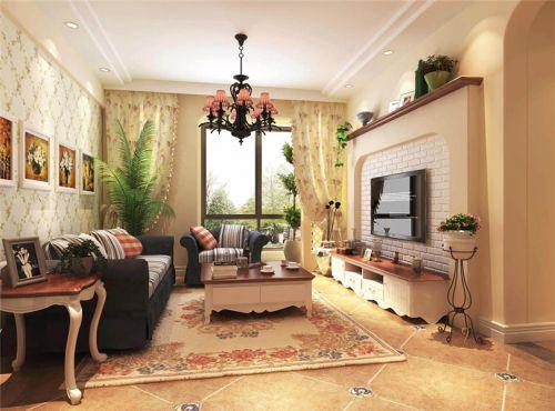 田园风格二居室客厅隔断装修效果图欣赏