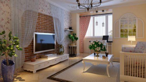 田园风格三居室客厅背景墙装修图片
