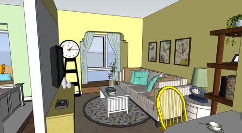 田园风格一居室客厅窗帘装修效果图欣赏