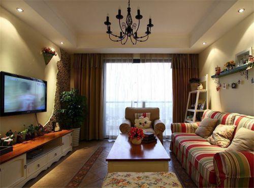 田园风格三居室客厅飘窗装修效果图