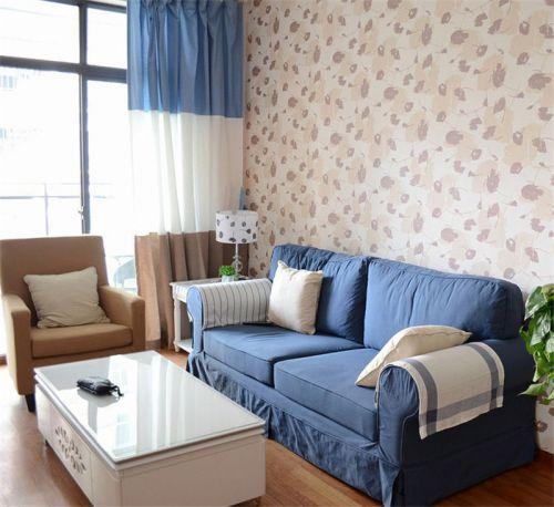 田园风格一居室客厅沙发装修图片