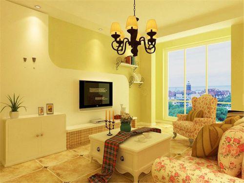 田园风格二居室客厅窗帘装修效果图欣赏