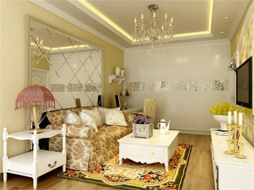 田园风格一居室客厅背景墙装修效果图