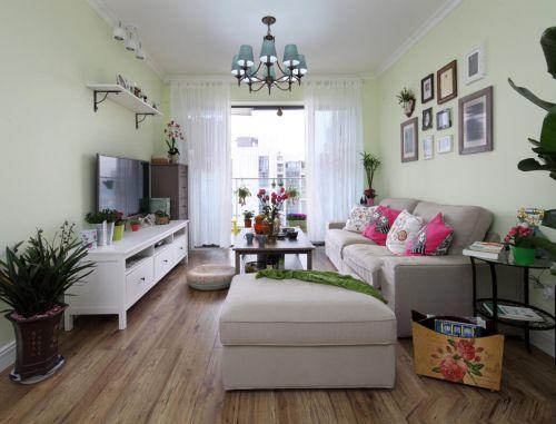 田园风格三居室客厅照片墙装修效果图