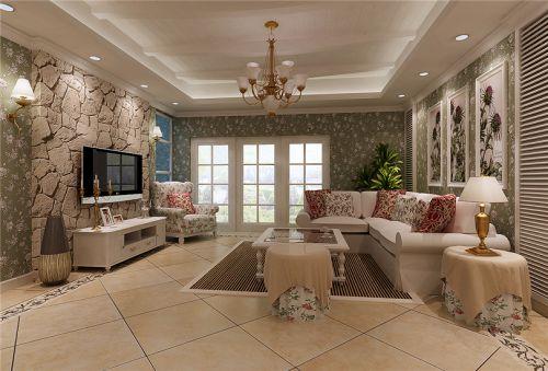 田园风格二居室客厅影视墙装修效果图大全