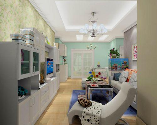 田园风格三居室客厅茶几装修图片