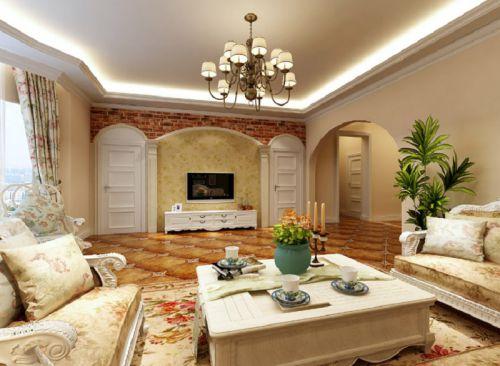 田园风格别墅客厅影视墙装修图片