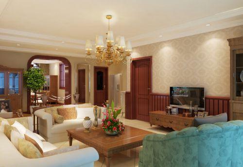 田园风格三居室客厅吊顶装修效果图大全
