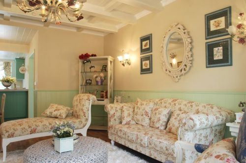 田园风格三居室客厅沙发装修效果图