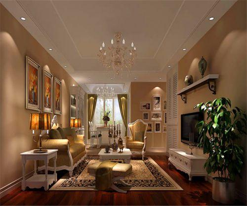 田园风格三居室客厅背景墙装修效果图大全