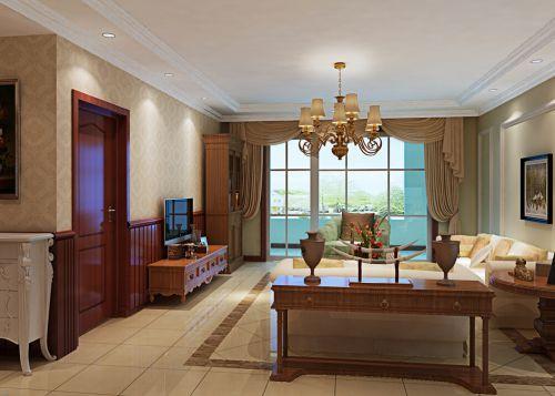 田园风格二居室客厅背景墙装修效果图