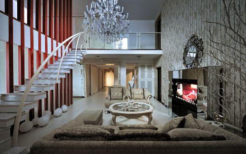 田园风格三居室客厅吧台装修效果图欣赏