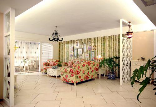 田园风格四居室客厅茶几装修图片